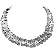 Vintage Mexican South American Sterling Silver Snake Chain Necklace