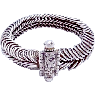 Vintage Mexican South American Sterling Silver Snake Chain Bracelet