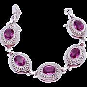 Vintage Danecraft Sterling Silver Amethyst Glass Elegant Bracelet