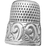 Antique Sterling Silver Size 9 Thimble Ornate Fancy Border