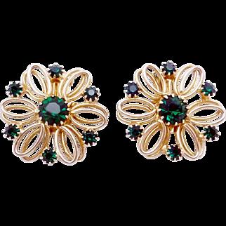 Vintage Hattie Carnegie Gold Tone Emerald Green Rhinestone Earrings