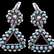 Vintage Navajo Zuni Southwestern Coin Silver Turquoise Tribal Pierced Earrings Early