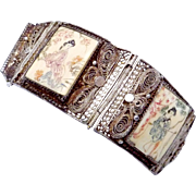 Antique Chinese Export Hand Painted Silver Filigree Bracelet