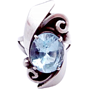 Vintage Sterling Silver Blue Topaz Modernist Studio Ring Hand Wrought