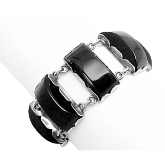 Vintage 1930s Taxco Mexico Mexican Sterling Silver Obsidian Heavy Bracelet