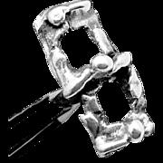 Vintage Modernist Sterling Silver Mid Century 1960s Brutalist Cufflinks