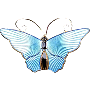 Vintage David Andersen Norway Sterling Silver Vermeil Enamel Butterfly Pin