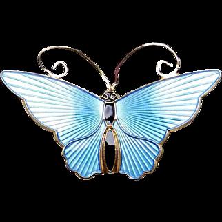 Vintage David Andersen Norway Sterling Silver Vermeil Enamel Butterfly Pin