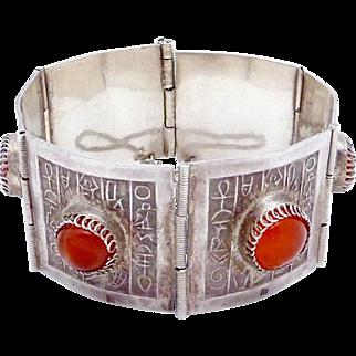 Vintage Egypt Egyptian 800 Silver Amber Bracelet