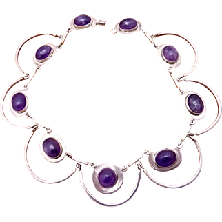 Modernist Taxco Mexican Sterling Silver Antonio Style Amethyst Necklace