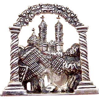 Vintage Marcel Boucher Parisina Taxco Mexican Sterling Silver Church Pin
