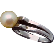 Vintage Japan Japanese Art Deco Sterling Silver Pale Yellow Pearl Ring