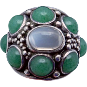 Vintage H Fred Skaggs Sterling Silver Aventurine Moonstone Ring Orig Box
