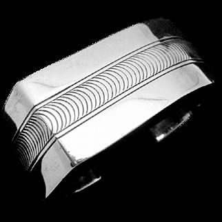 Vintage Sam Graves Southwest Sterling Silver Modernist Big Cuff Bracelet