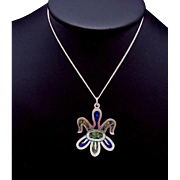 Vintage Taxco Mexican Sterling Silver Azure Malachite Pendant Necklace