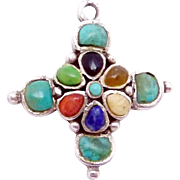 Vintage Barse Sterling Silver Turquoise Multi Stone Small Cross Pendant
