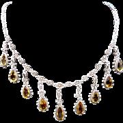 Vintage European Italian 800 Silver Cannetille Citrine Gemstone Necklace