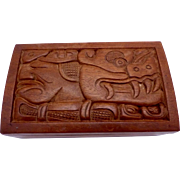 Vintage Hand Carved Wood Honduras Box Jaguar Indian Corn Large Nice