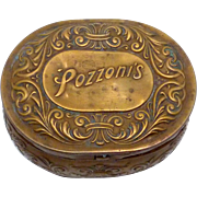 Vintage Antique Brass Pozzoni Candy Trinket Box Pleasing Shape Form Patina