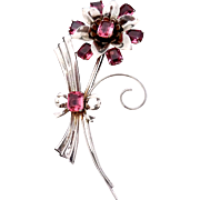 Vintage Art Deco Sterling Silver Pink Glass Flower Floral Big Pin