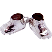 Vintage Sterling Silver Double Baby Shoes Charm Pendant
