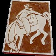 Vintage Woodblock Print Stencil Linocut Bucking Bronco Cowboy Horse