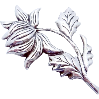 Vintage Early Taxco Mexico Mexican Sterling Silver Repousse Flower Pin Big