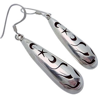 Vintage Arce Taxco Mexico Mexican Sterling Silver Pierced Drop Earrings