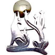 Vintage Hernandez Taxco Mexican Sterling Silver Howling Coyote Cactus Pin