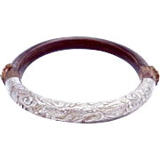 Antique Chinese Sterling Silver Wood Bamboo Bangle Dragon Bracelet