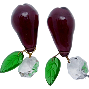 Vintage Italian Glass Purple Green Crystal Pear Pair Chandelier Ornaments