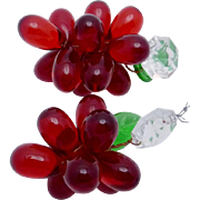 Vintage Italian Glass Red Crystal Grapes Pair Chandelier Ornaments