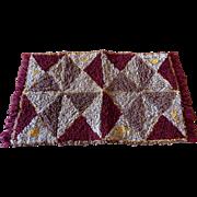 Vintage Hand Hooked Sewn Geometric Wool Small Rug Folk Art