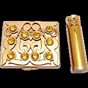 Vintage 1940s Paul Flato Brass Rhinestone Compact Lipstick Set