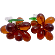 Vintage Italian Glass Amber Crystal Grapes Pair Chandelier Ornaments
