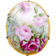 Antique Victorian Gold Filled Hand Tole Painted Rose China Pin Brooch