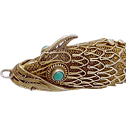 Antique Chinese Sterling Silver Vermeil Turquoise Jointed Fish Pendant