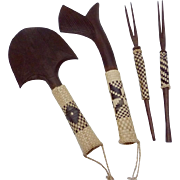 Vintage Ebonized Wood Set of African Hand Carved Tools Set of 4