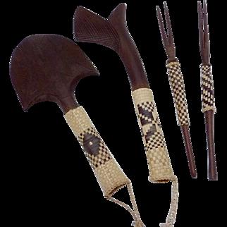 Vintage Ebonized Wood Set of African Hand Carved Tools Set of 4