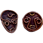 Vintage Taxco Mexico Mexican Hand Made Copper Face Buttons Set 2 Charming