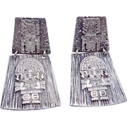 Vintage Peru Peruvian Sterling Silver God Idol Pierced Earrings