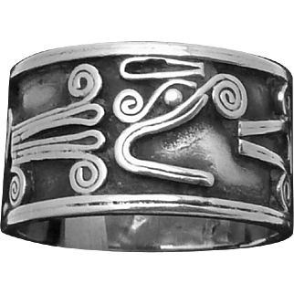 Vintage Taxco Mexico Mexican Sterling Silver Quetzalcoatl Band Ring