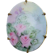 Antique Victorian Gold Filled Hand Tole Painted Pink Rose China Pin Brooch