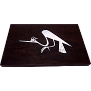 Vintage Peru Peruvian Sterling Silver Heron Bird Wood Plaque Laffi Design