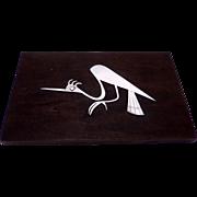 Vintage Peru Peruvian Sterling Silver Heron Bird Wood Plaque Laffi Design