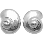 Vintage Fredric Jean Duclos Sterling Silver Snail Shell Earrings