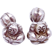 Antique Chinese Hand Made 800 Silver Fat Buddha Bell Rattle Cufflinks