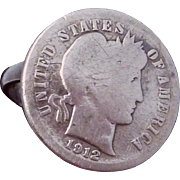 Vintage 1912 USA Dime Coin Sterling Silver Ring 23021