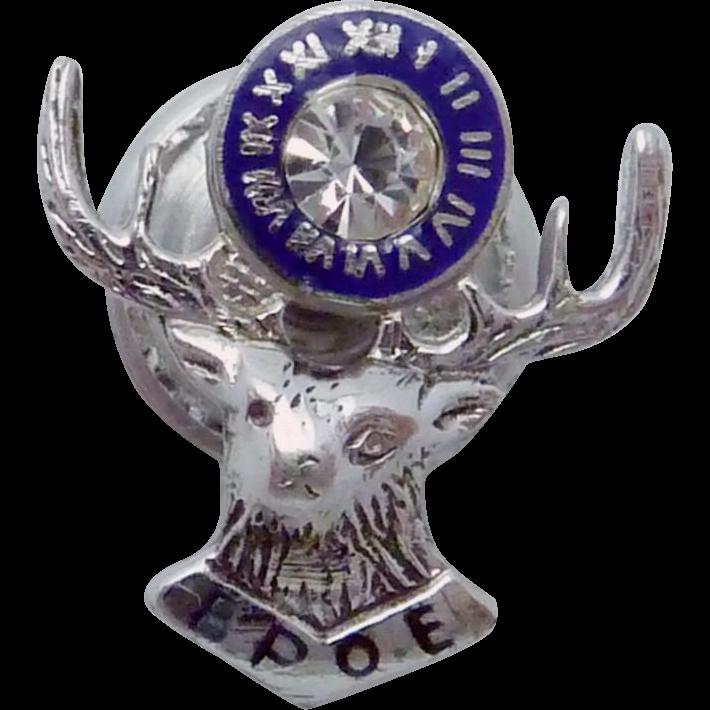 Vintage 1930s Uncas Sterling Silver Enamel Stone BPOE Elks Lapel Pin