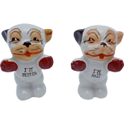 Vintage Bonzo Dog Salt & Pepper Shakers Japan Hand Painted Charming